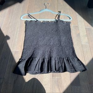 black smocked tank top with ruffles